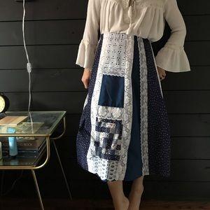 Vintage 70s boho patchwork hippie skirt blue large